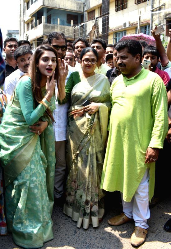 North 24 Parganas: TMC's candidate from Basirhat constituency, Nusrat Jahan before filing her nomination for the forthcoming Lok Sabha polls, in West Bengal's North 24 Parganas, on April 22, 2019. (Photo: IANS)