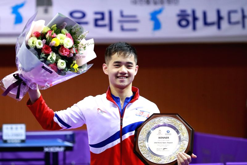 North Korea's Ham Yu-song wins the under-21 singles final of the International Table Tennis Federation (ITTF) World Tour Platinum Korea Open in Daejeon, 160 kilometers south of Seoul, on ...