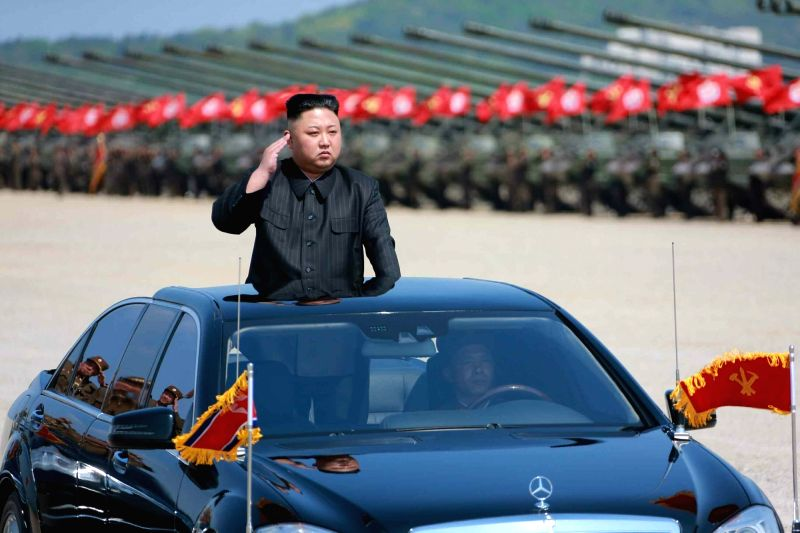 North Korean leader Kim Jong-un reviews the military units participating in the country's largest-ever live-fire drill to mark the 85th founding anniversary of its armed forces on April 25, ...