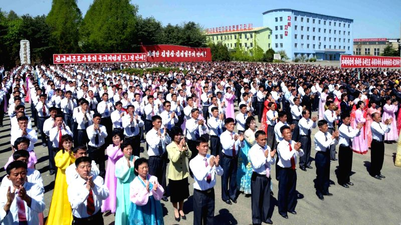 North Korean workers gather at the Namhung Youth Chemical Complex in South Pyongyang Province on May 1, 2017, to mark May Day. (For Use Only in the Republic of Korea. No Redistribution) ...
