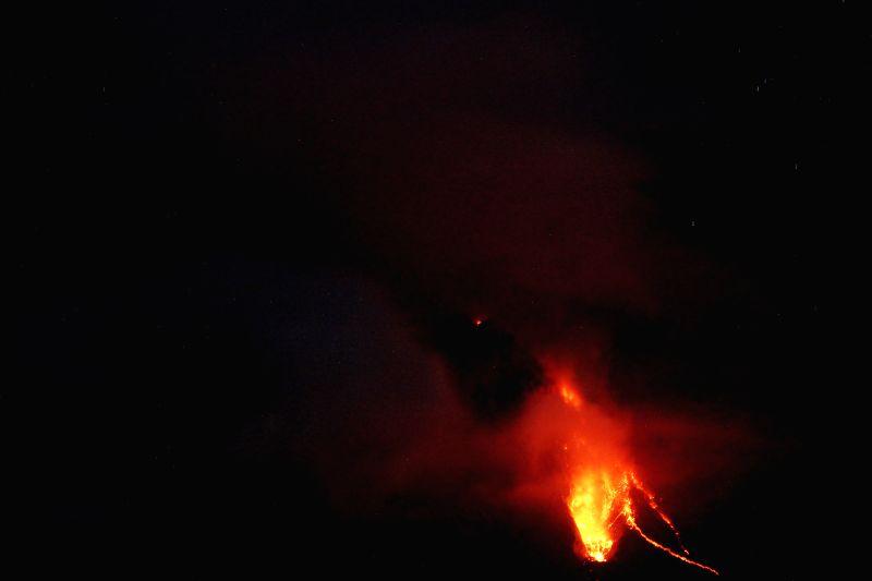 NORTH SUMATRA, July 29, 2016 - Mount Sinabung erupts in Jeraya Village, Tanah Karo district of North Sumatra, Indonesia, July 29, 2016.