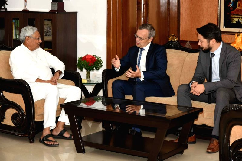 Norway Ambassador to India Nils Ragnar Kamsvag calls on Bihar Chief Minister Nitish Kumar in Patna on Sept 13, 2017. - Nitish Kumar