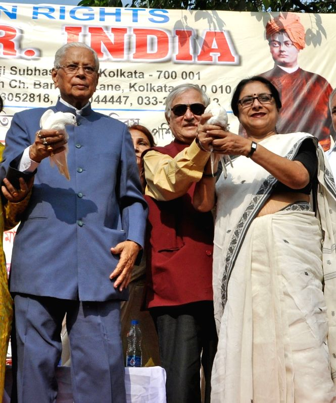 Noted advocate and social worker Gitanath Ganguly, former IPS officer RK Handa, and others during a programme organised by Committee for Protection of Democratic Rights (CPDR) to observe  ...