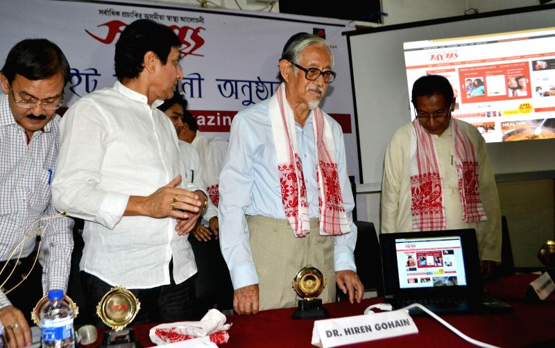 Noted Littereauter and critic, Dr. Hiren Gohain during launch of a website in Guwahati on May 12, 2014.