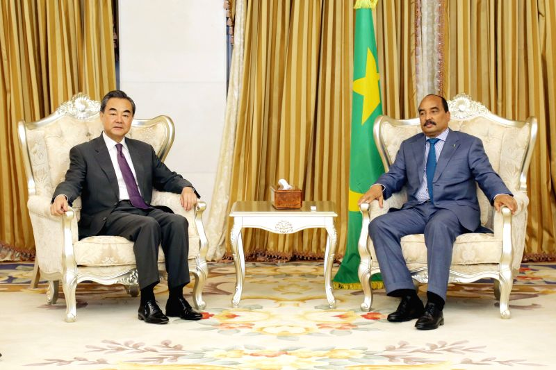 NOUAKCHOTT, May 20, 2017 - Mauritanian President Mohamed Ould Abdel Aziz (R) meets with Chinese Foreign Minister Wang Yi in Nouakchott, Mauritania, May 19, 2017. - Wang Y