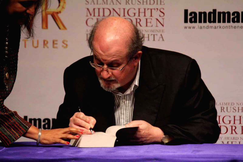 :Novelist Salman Rushdie at Midnight`s Children press conference in Mumbai. (Photo: IANS).