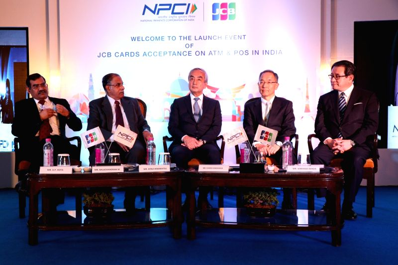 NPCI MD & CEO A. P. Hota, Chairman Balachandran M., Ambassador Extraordinary and Plenipotentiary of Japan to India Kenji Hiramatsu, JCB President and CEO Ichiro Hamakawa and JCB ...