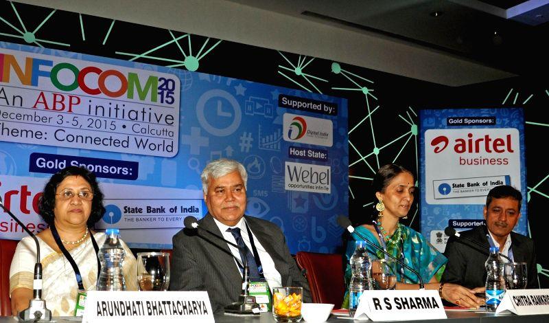 NSE Managing Director and CEO Chitra Ramkrishna, SBI Chairman Arundhati Bhattacharya, Software Technology Parks of India Director General Omkar Rai and TRAI Chairman RS Sharma during INFOCOM ... - Omkar Rai