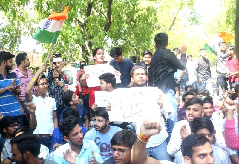 NSUI demonstration near Prakash Javadekar's residence