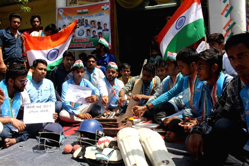 NSUI activists perform havan for victory of India during an ICC Champions Trophy match against Pakistan in Bhopal on June 4, 2017. The mach is being played at Edgbaston, Birmingham in UK.