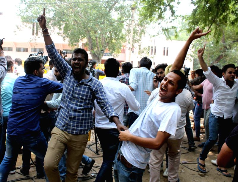 NSUI celebrates its victory in DU elections