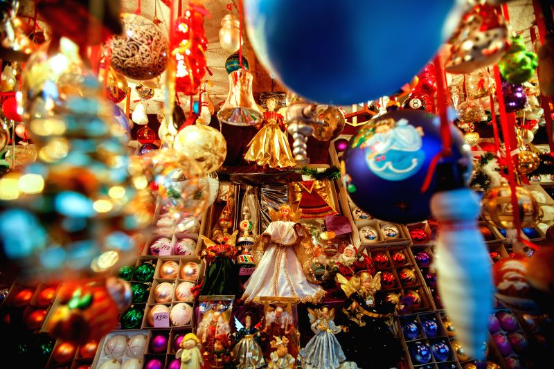 Nuremberg (Germany): Christmas decorations are seen at the Nuremberg Christmas Market in Nuremberg, Germany, Nov. 28, 2014. The Nuremberg Christmas Market, one of the oldest in Germany, opened on ...