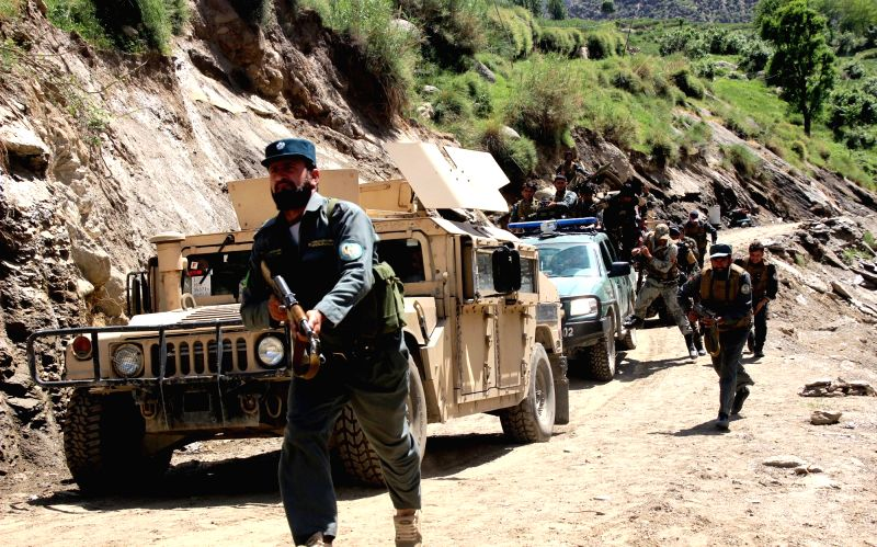 NURISTAN, April 26, 2017 - Afghan security forces members attend a military operation in Nuristan province, east of Afghanistan, on April, 25. 2017.