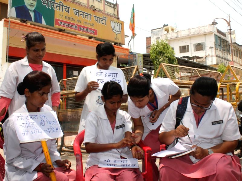 Nursing students contributed their blood and wrote a letter requesting PM Modi to intervene after they are cheated by their institute in front of Varanasi PMO office on April 19, 2017.