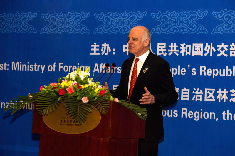 NYINGCHI, May 30, 2016 - David Nabarro, special adviser on the 2030 Agenda for Sustainable Development, delivers a speech during a joint high-level symposium on 2030 Agenda in Nyingchi, southwest ...