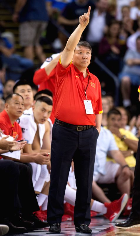 OAKLAND, July 27, 2016 - Head coach of China Gong Luming gestures during a friendly match against the USA at the Oracle Arena in Oakland, California, the United States, July 26, 2016.