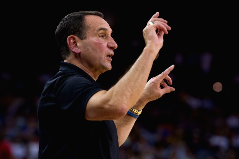 OAKLAND, July 27, 2016 - Head coach of the USA Mike Krzyzewski gestures during a friendly match against China at the Oracle Arena in Oakland, California, the United States, July 26, 2016.
