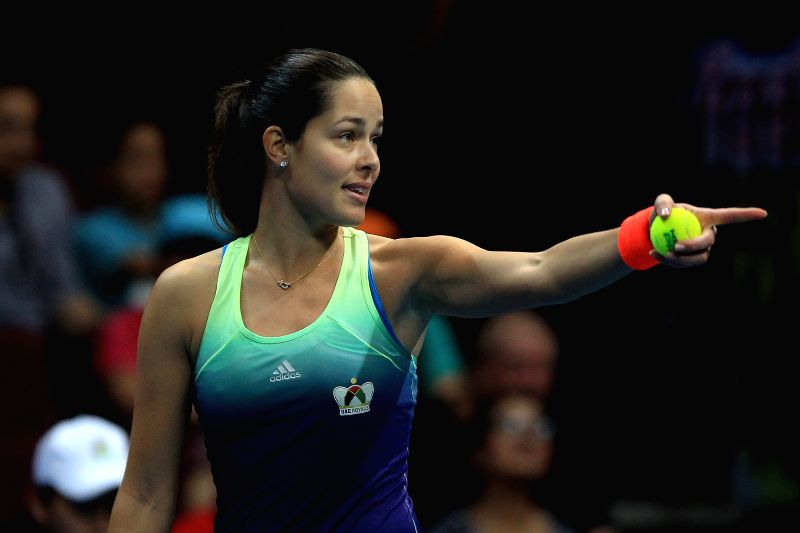 Obi UAE Royals' player Ana Ivanovic of Serbia competes against Micromax Indian Aces' player Samantha Stosur of Australia during their match in the International ...