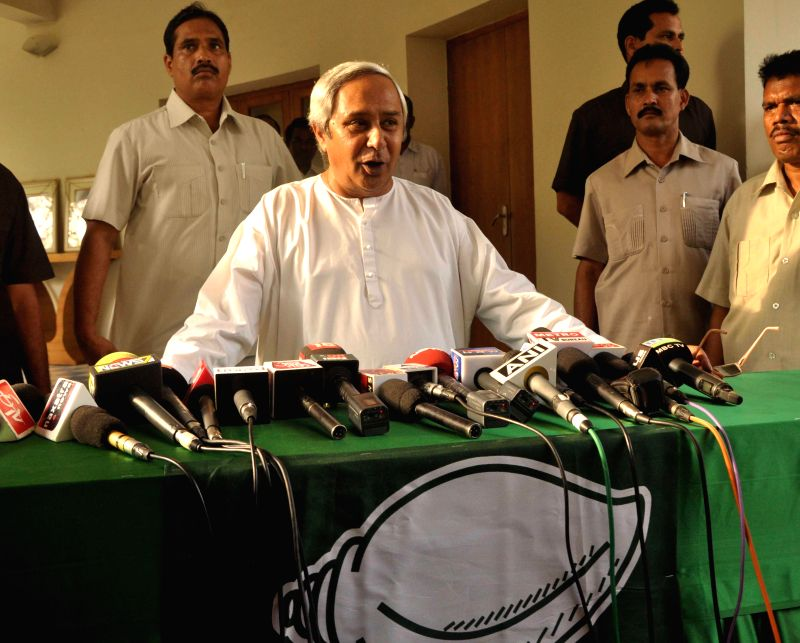 Odisha Chief Minister and BJD chief Naveen Patnaik addresses a press conference regarding  his party's performance in 2014 Lok Sabha elections in Bhubaneswar on May 16, 2014. (Photo : Arabinda ...
