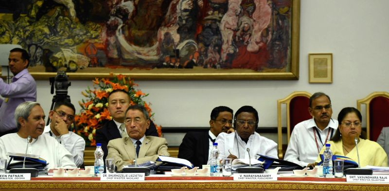 Odisha Chief Minister Naveen Patnaik, Nagaland Chief Minister Shurhozelie Liezietsu, Puducherry Chief Minister V. Narayanasamy and Rajasthan Chief Minister Vasundhara Raje Scindia, at the ... - Naveen Patnaik and Narendra Modi