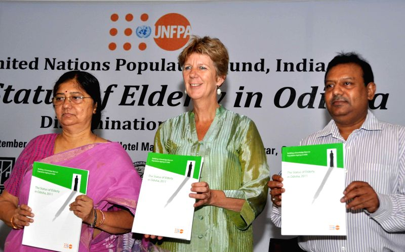 Odisha Women and Child Development & Planning and Coordination Minister Usha Devi and United Nations Population Fund (UNFPA) country representative for India and Bhutan Frederika Meijer release a - Usha Devi