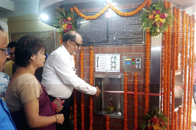 Oil and Natural Gas Corporation (ONGC) Executive Director and Asset Manager Gautam Kumar Singha Roy inaugurates a water ATM at Indira Gandhi Memorial (IGM) Hospital, in Agartala on July 12, ... - Indira Gandhi Memorial