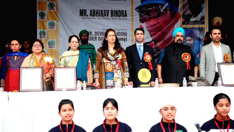 Olympic champion shooter Abhinav Singh Bindra during  a visit to a school in Amritsar on Dec. 5, 2015. - Abhinav Singh Bindra