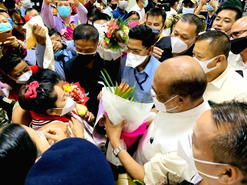 Olympic silver-medalist Mirabai Chanu returns home with rousing welcome.