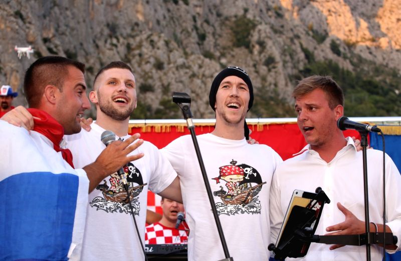 OMIS, July 19, 2018 - Ivan Perisic (2nd R) and Ante Rebic (2nd L) of Croatian national football team react during welcome celebration in Omis, Croatia, July 18, 2018. Croatia won the second place at ...