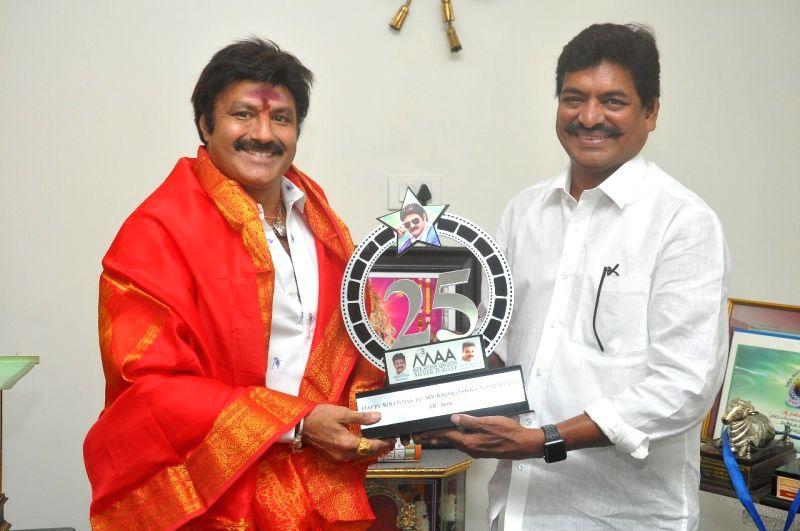 On the Occasion of Balakrishna's birthday Movie Artists Association President Shivaji Raja greeted him in Hyderabad.