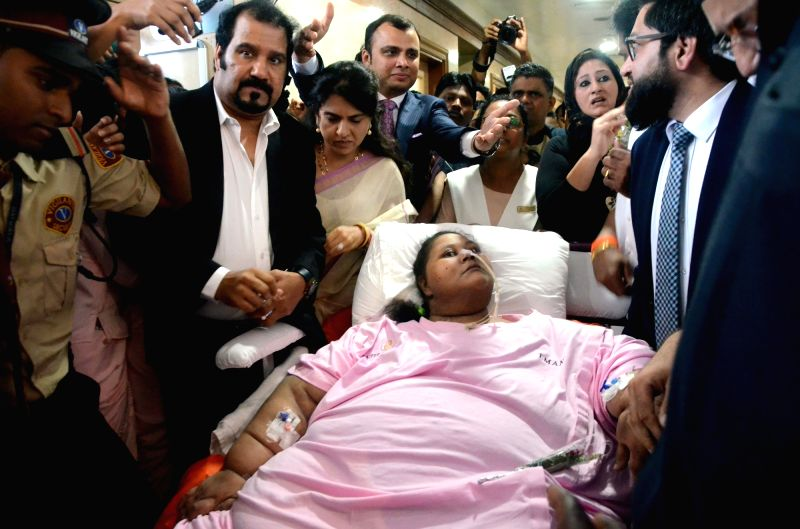 Once dubbed the heaviest woman on earth, Egyptian Eman Ahmed Abd-El Aty leaves India for further treatment in Abu Dhabi after losing over 50 percent weight; on May 4, 2017.