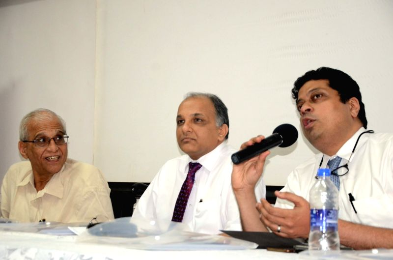 Oncologists. Dr Suresh Advani, Dr. Vinay Deshmane and Dr. Mandar Nadkarni during a press conference on Breast Cancer at Kokilaben Dhirubhai Ambani Hospital, in Mumbai on Aug 2, 2018. - Suresh Advani
