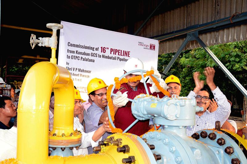 "ONGC Tripura Asset Manager Ved Prakash Mahawar commissions 6"" x 12 km pipeline from Konaban to Nimbutali junction on Aug 31, 2014."
