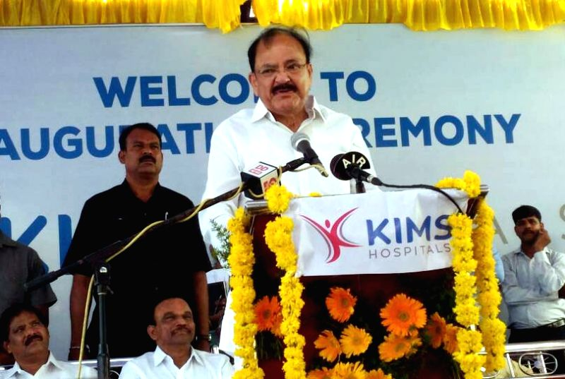Ongole (Andhra Pradesh): Union Minister for Urban Development, Housing & Urban Poverty Alleviation and Information & Broadcasting M. Venkaiah Naidu addresses at the inauguration of the KIMS ... - M. Venkaiah Naidu