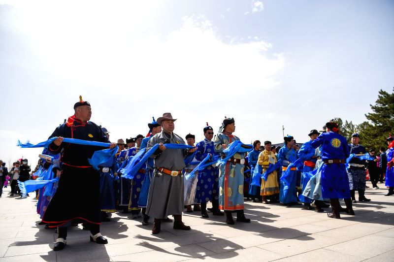 ORDOS, April 18, 2017 - People attend a grand memorial ritual for the 13th-century great conqueror Genghis Khan at the mausoleum of Genghis Khan in Ordos, north China's Inner Mongolia Autonomous ... - Genghis Khan