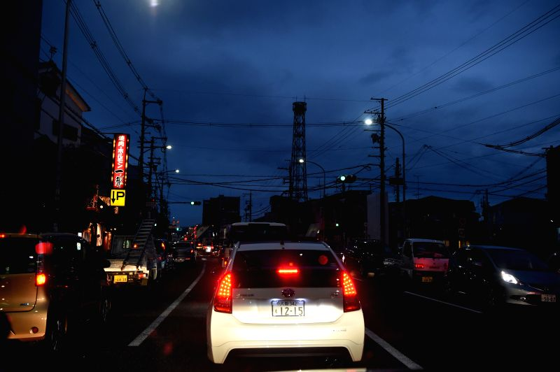 OSAKA, June 18, 2018 - A traffic jam is seen in Takatsuki, Osaka, Japan, on June 18, 2018. At least three people have been confirmed dead and more than 90 others injured as a result of a 6.1 ...