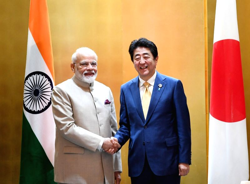 Osaka: Prime Minister Narendra Modi and Japan Prime Minister Shinzo Abe ahead of bilateral meeting in Osaka, Japan on June 27, 2019. (Photo: IANS/PIB)