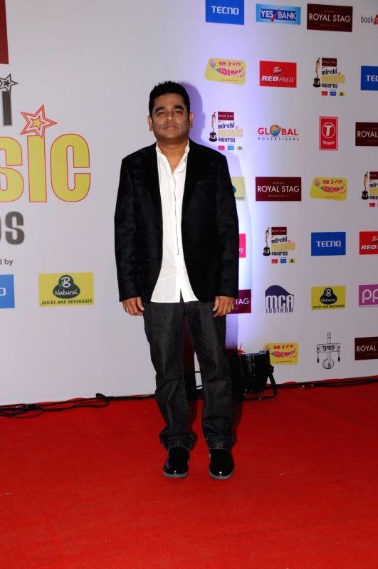 "Oscar winning composer A.R Rahman at the red carpet of ""10th Mirchi Music Awards"" in Mumbai on Jan 28, 2018."