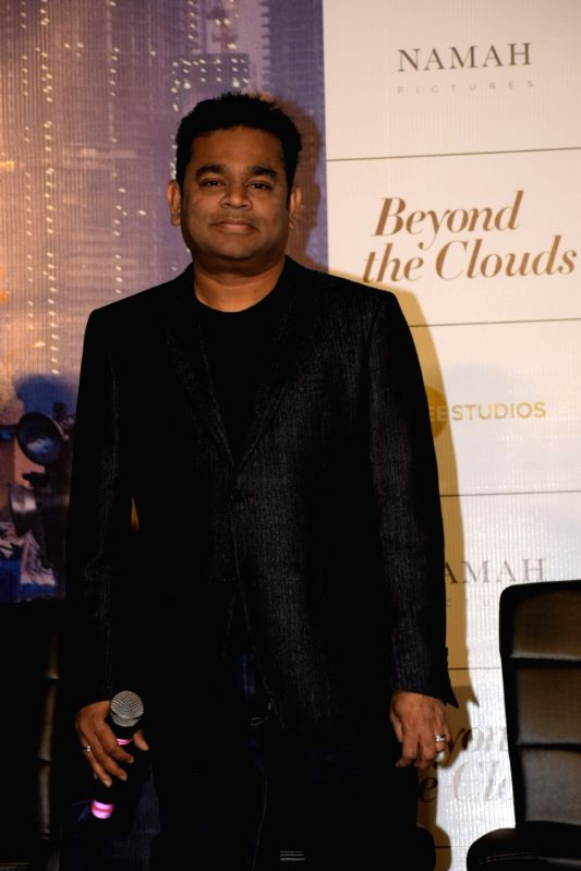 """Oscar winning composer A.R. Rahman at the trailer launch of his upcoming film """"Beyond the Clouds"""" in Mumbai on Jan 29, 2018."""