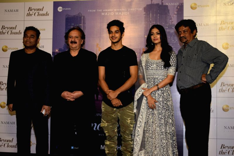 "Oscar winning composer A.R. Rahman, Iranian filmmaker Majid Majidi, actors Ishaan Khatter and Malavika Mohanan at the trailer launch of their upcoming film ""Beyond the Clouds"" in ... - Ishaan Khatter and Malavika Mohanan"