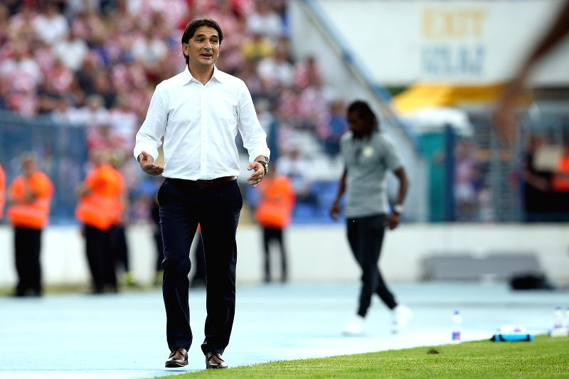 OSIJEK, June 9, 2018 - Zlatko Dalic, head coach of Croatian national team, reacts during the international friendly match against Senegal ahead of the FIFA World Cup in Osijek, Croatia, on June 8, ...