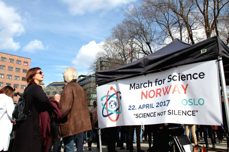 OSLO, April 22, 2017 - People participate in the March for Science in Oslo, Norway, on April 22, 2017.