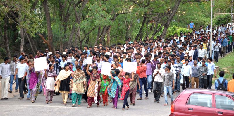 Osmania University students participate in a rally organised inside the University campus in Hyderabad on  July 18, 2014.