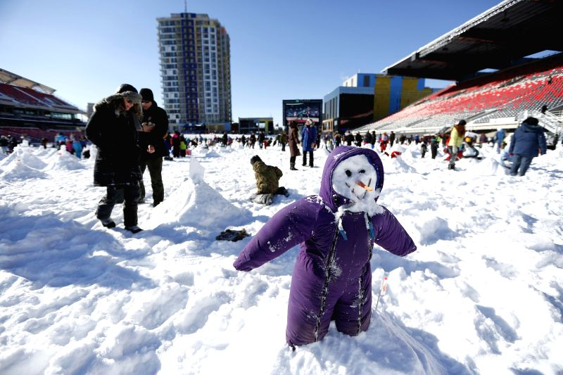 People build snowmen for an attempt to break the Guinness Book of World Records title for most snowmen built in an hour, in TD Place Stadium of Lansdowne Park in ...