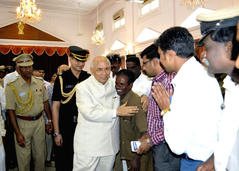 Out-going Karnataka Governor HR Bharadwaj at Raj Bhavan, in Bangalore on June 28, 2014.