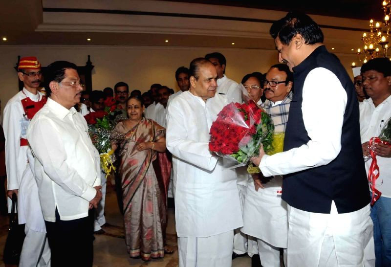 Outgoing Maharashtra Governor K Sankaranarayanan with Maharashtra Chief Minister Prithviraj Chavan as Maharashtra Cabinet bids farewell to the former during a farewell ceremony organised at Sahyadri . - Prithviraj Chavan