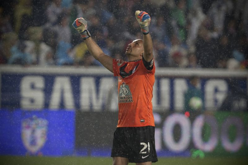 Pachuca's goalkeeper Oscar Perez celebrates a score against Santos, during the first leg semifinal match of the Liga MX Closing Tournament at Hidalgo Stadium, in ...