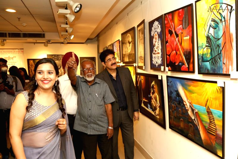 "Painter Biman B Das during the inauguration of Art exhibition ""Aantar Dharshan"" in New Delhi on May 21, 2018."