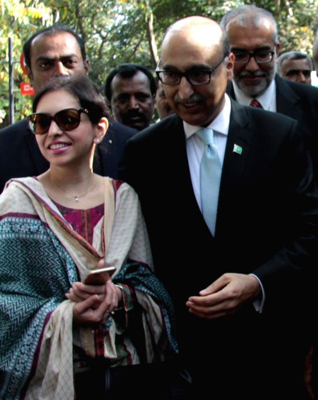 Pakistan High Commissioner Abdul Basit and his wife at the Bangalore Press Club during a programme, in Bengaluru on Oct 30, 2015.