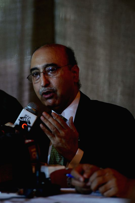 Pakistan High Commissioner in India, Abdul Basit during a press conference at Foreign Correspondents' Club of South Asia in New Delhi on Aug 20, 2014.